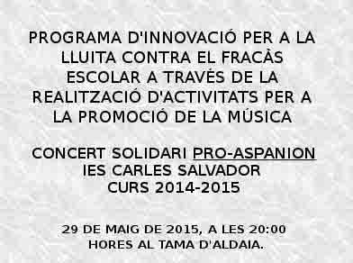 El IES Carles Salvador de Aldaia organiza un concierto benéfico esta tarde