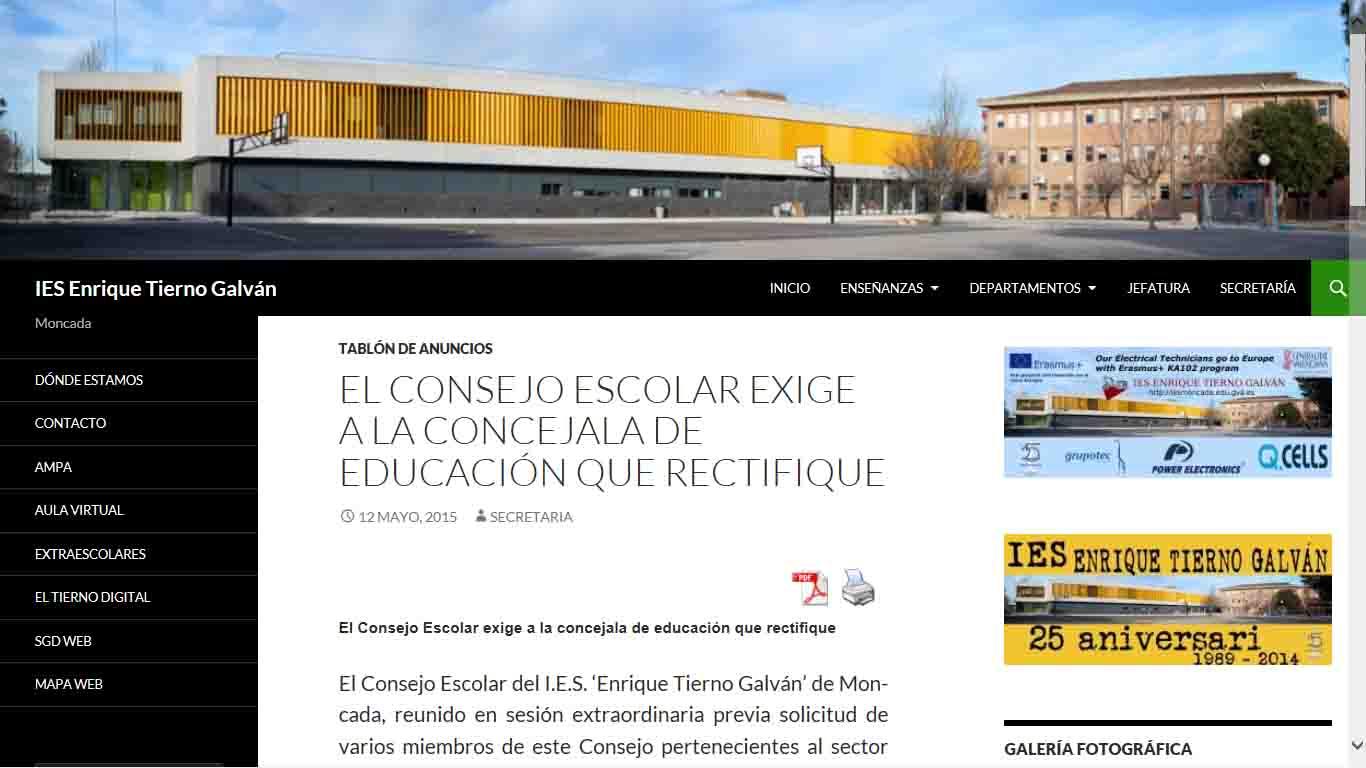 El Consejo Escolar del Tierno Galván de Moncada exige la rectificación inmediata de la concejala de Educación