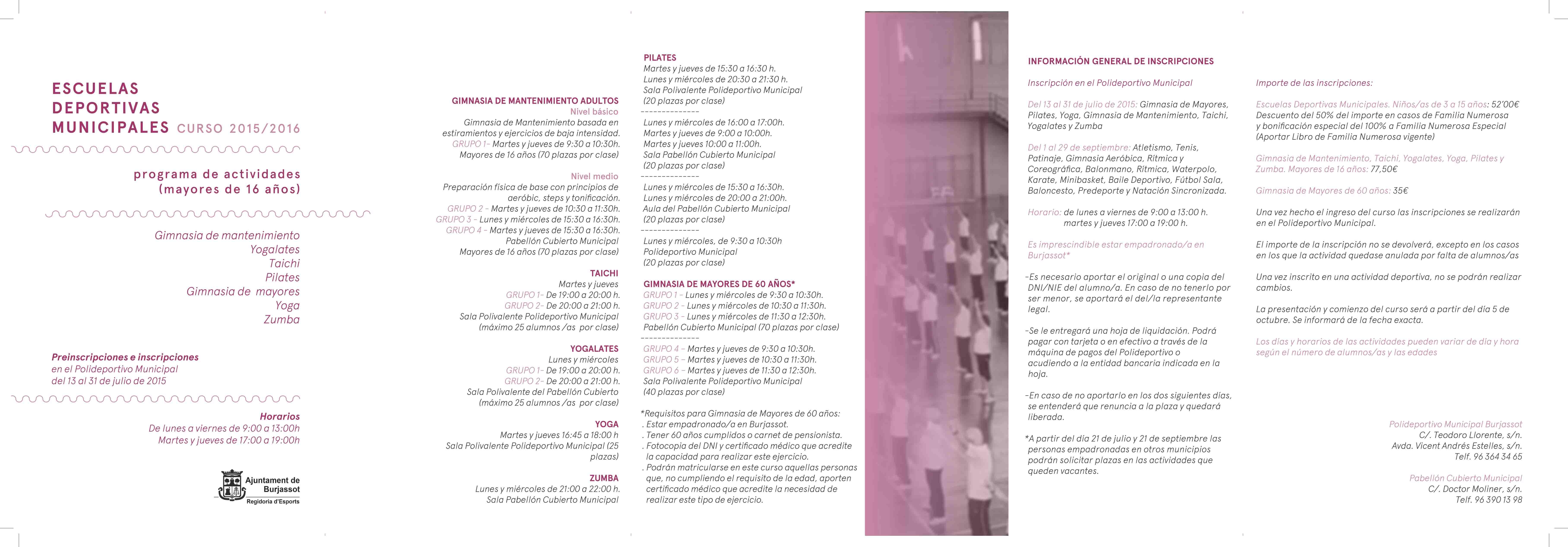 El 13 de julio se abre el periodo de matrícula de las Escuelas Deportivas de Burjassot