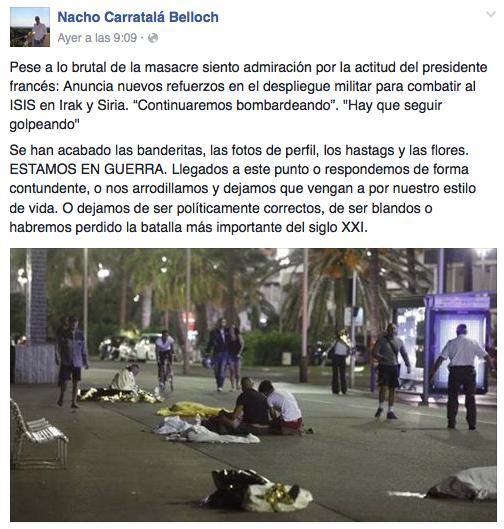 Los socialistas de Torrent critican las declaraciones vertidas por un concejal del PP tras el atentado de Niza