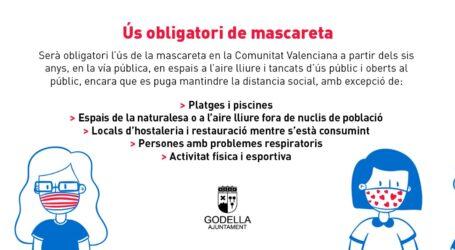 L'Ajuntament de Godella recorda a la ciutadania l'obligatorietat de l'ús de la màscara