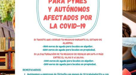 Xirivella abre plazo para ayudas a autónomos y pymes afectados por la Covid19