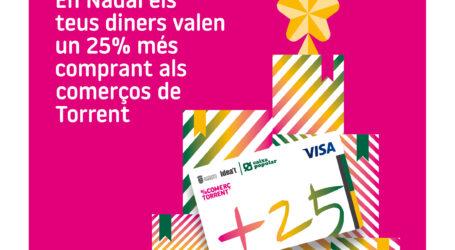 El plazo de solicitud de la «Tarjeta +25» para compras en Torrent finaliza el 31 de diciembre
